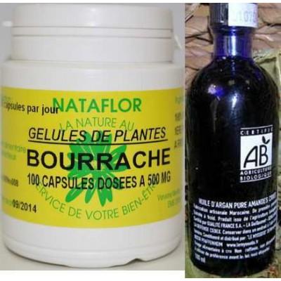 Pack peaux sèches capsules bourrache+ huile argan BIO AB