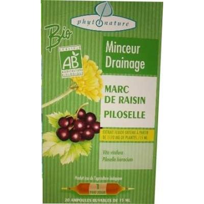 Ampoules de plantes marc de raisin+piloselle.