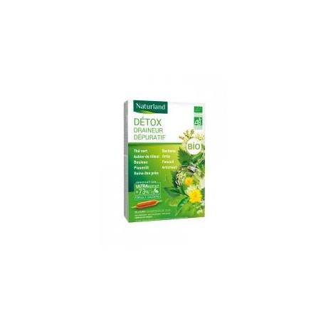 Détox Draineur Dépuratif Bio 20 Ampoules Buvables de 10 ml