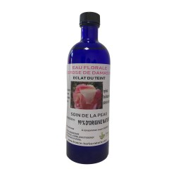 Eau florale de rose de Damas BIO flacon de 200 ML.
