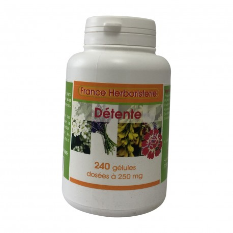 Complexe détente 240 gélules dosées à 250 mg.